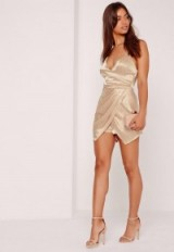 MISSGUIDED silky ruched asymmetric playsuit nude ~ plunge front strappy playsuits ~ cami straps ~ affordable luxe ~ party glamour ~ going out statement