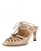THE ROW Dixie Patent Leather Lace-Up Mule in Beige. Luxury mules   Mary-Kate & Ashley Olsen clothing brand   luxe shoes   stylish fashion