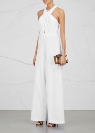 Alice Olivia Trinity White Wide Leg Jumpsuit Evening Wear De
