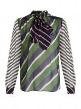 MARY KATRANTZOU Veddar graphic-print silk-chiffon blouse ~ pussy bow blouses ~ blouson sleeved tops ~ graphic prints ~ designer fashion ~ striped silk-georgette fabric ~ bold stripes