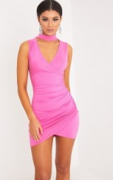 AMARIS HOT PINK CHOKER DETAIL RUCHED BODYCON DRESS ~ party dresses ~ asymmetric hem