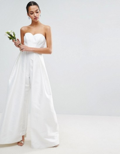 Asos bridal jumpsuit in white wide leg jumpsuits s - Jumpsuit hochzeit ...