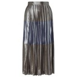 Miss Selfridge Silver Metallic Stripe Midi Skirt ~ metallics ~ pleated skirts