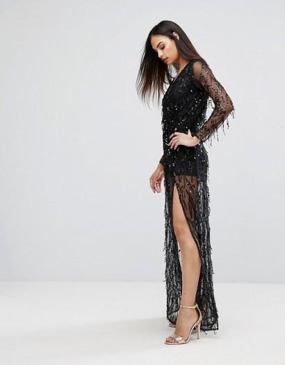 Club L Sequin Plunge Front Maxi Dress Black Long Sheer Embellishe