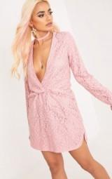DOTTIE DUSTY PINK LACE TWIST FRONT SHIFT DRESS ~ long sleeve plunging neckline dresses ~ curved hem