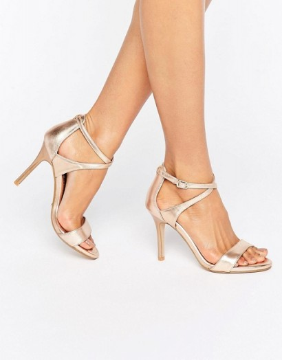 Dune Bridal Madeleine Metallic Sandals in rose gold – wedding shoes – strappy heels – high heel sandals
