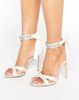 Dune Bridal Morgan Embellished Tie Sandals in ivory satin – wedding shoes – high heels – ankle ties – accessories