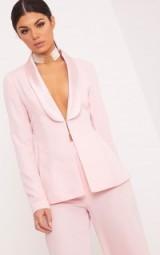ELNIE BABY PINK SATIN LAPEL SUIT JACKET ~ suit jackets ~ feminine ~ trouser suits
