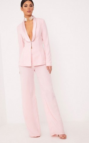 ELNIE BABY PINK WIDE LEG SUIT TROUSERS ~ suit pants ~ trouser suits - flipped