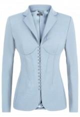 LA PERLA ~ ESSENTIALS BI-STRETCH COOL-WOOL CORSET JACKET Light Blue ~ luxury fitted jackets