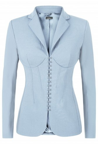 LA PERLA ~ ESSENTIALS BI-STRETCH COOL-WOOL CORSET JACKET Light Blue ~ luxury fitted jackets - flipped