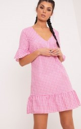FENALINE PINK GINGHAM PLUNGE FRILL DETAIL SHIFT DRESS ~ short sleeve summer dresses ~ affordable