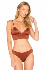 FLEUR DU MAL TRIANGLE LONGLINE BRA SAFFRON ~ soft silky bras ~ lingerie bralets ~ intimates ~ luxe style underwear