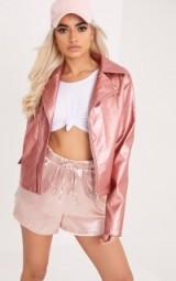 Pretty Little Thing HOLLIE ROSE METALLIC PU BIKER ~ pink moto jackets