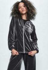 londunn + missguided grey velour bomber jacket. Jourdan Dunn fashion/clothing collaboration | casual jackets