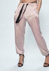 londunn + missguided pink satin cuffed joggers. Jourdan Dunn fashion/clothing collaboration