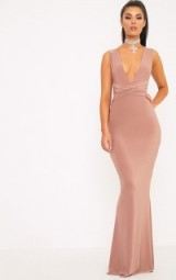 MACI DUSTY ROSE DOUBLE WRAP SLINKY MAXI DRESS ~ long plunge front evening dresses ~ pink
