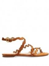 CHLOÉ Melrose tan-brown suede sandals ~ summer flats ~ flat designer shoes ~ holiday