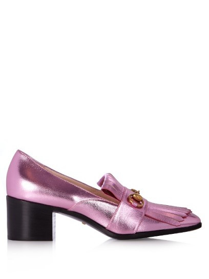 GUCCI Polly pink fringed leather loafers ~ luxe block heel shoes ~ designer footwear ~ chunky heels ~ metallic accessories ~ metallics