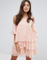 PrettyLittleThing Cold Shoulder Ruffle Tiered Dress ~ blush-pink party dresses ~ ruffled