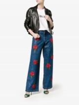 Ashish Rose Embroidered Blue Sequin Jeans ~ sequined designer denim ~ wide leg