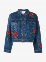 Ashish Sequin Embellished Blue Denim Jacket ~ floral sequined jackets