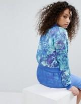 adidas Originals Ocean Printed Bomber Jacket. Casual blue printed sports jackets | sportswear | baseball style outerwear