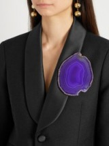 GIVENCHY Agate brooch ~ large blue stone brooches ~ statement jewellery