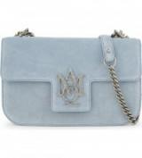 ALEXANDER MCQUEEN Insignia Artic-blue suede cross-body bag – chain strap crossbody – luxury flap bags – designer handbags
