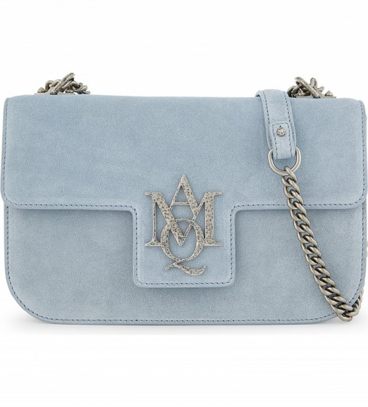 crossbody bags designer 79hm  ALEXANDER MCQUEEN Insignia Artic-blue suede cross-body bag  chain strap  crossbody
