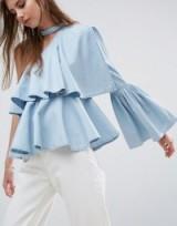 ASOS Denim One Shoulder Ruffle Top With Choker Detail. Light blue ruffled tops | fluted sleeve