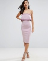 ASOS Embellished Crop Top Bandeau Midi Dress, lilac bodycon dresses, fitted evening wear, glamorous going out fashion, strapless