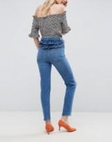 ASOS FARLEIGH High Waist Slim Mom Jeans In Pretty Mid Wash with Frill Yoke. Slim leg blue denim jeans | frilled back | casual fashion | ruffle detail