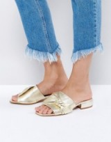 ASOS FOGGY Bow Leather Sandals Gold. Summer flats | glam shoes