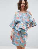 ASOS SALON Bow Front Kimono Mini Dress in Tropical Jacquard. Oriental style   cold shoulder dresses   statement bows   wide sleeve