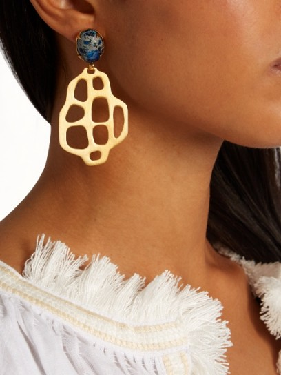 MARTE FRISNES Avalon quartz and gold-plated earrings ~ large drop earrings ~ statement jewellery