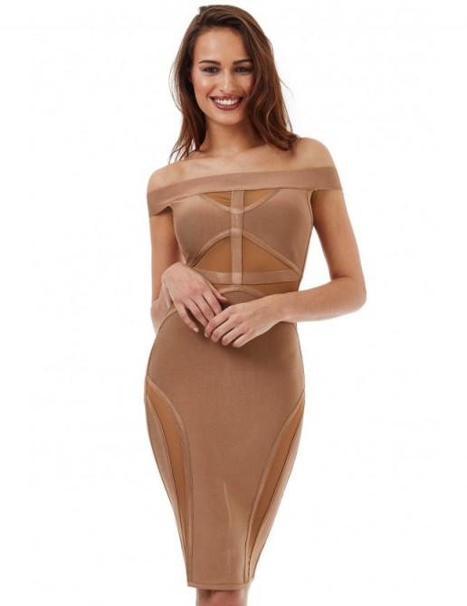GODDIVA Bardot Cut Out Bodycon Dress in Tan ~ off the shoulder party dresses ~ fitted evening fashion ~ going out