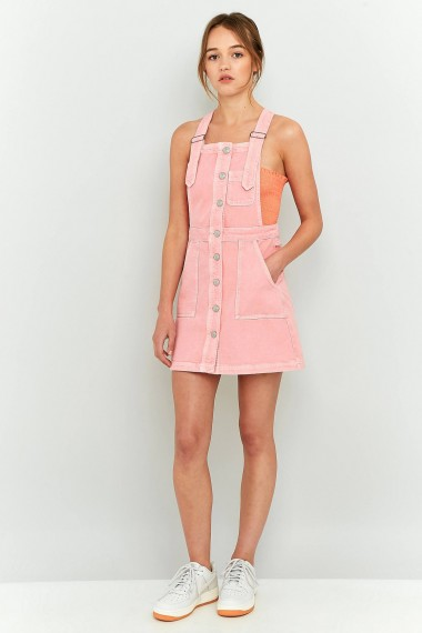 Bdg Button Down Pinafore Dress Pink Denim Dresses Pinafores C