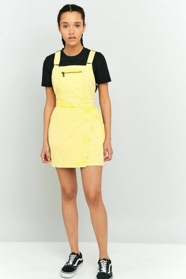 BDG Jessy Pinafore Dress Yellow. Denim pinafores | casual day dresses