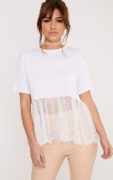 BETTINA WHITE LACE HEM OVERSIZED T SHIRT ~ semi sheer tee ~ t-shirts