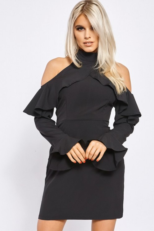 BILLIE FAIERS BLACK COLD SHOULDER FRILL MINI DRESS ~ evening out ~ party dresses