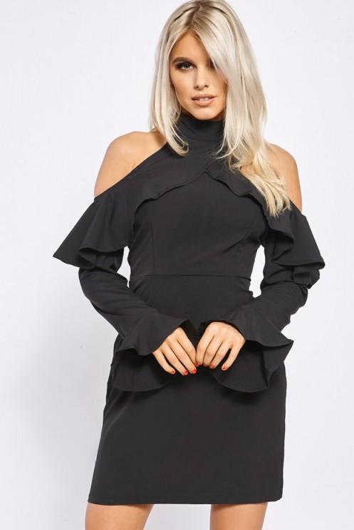 BILLIE FAIERS BLACK COLD SHOULDER FRILL MINI DRESS ~ evening out ~ party dresses