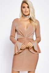 BILLIE FAIERS COPPER TWIST FRONT FLARED SLEEVE DRESS ~ plunge front dresses ~ going out fashion
