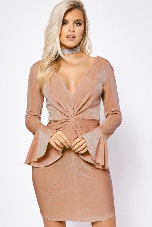 BILLIE FAIERS COPPER TWIST FRONT FLARED SLEEVE DRESS ~ plunge front dresses ~ going out fashion - flipped