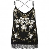 RIVER ISLAND black oriental embellished cami top. Strappy tops   floral camisoles