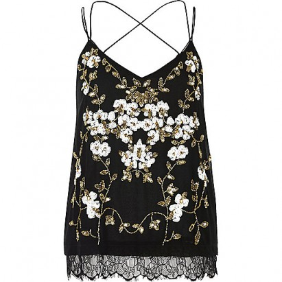 RIVER ISLAND black oriental embellished cami top. Strappy tops | floral camisoles