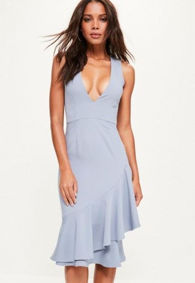 Missguided blue crepe sleeveless ruffle hem midi dress – plunge front party dresses