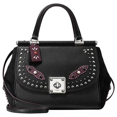 Coach Western Rivets Drifter Black Leather Carryall Grab Bag – top handle bags – embellished handbags – luxury shoulder bags - flipped