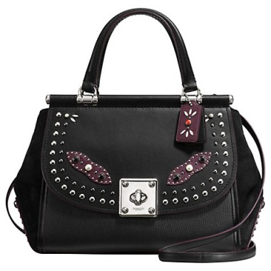 Coach Western Rivets Drifter Black Leather Carryall Grab Bag – top handle bags – embellished handbags – luxury shoulder bags