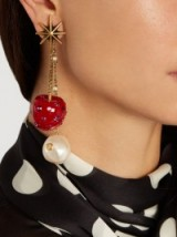 GUCCI Cherry and pearl crystal-embellished earrings ~ bling jewellery ~ large drop earrings ~ statement accessory